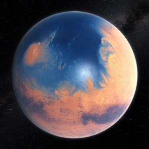 This artist's impression shows how Mars may have looked about four billion years ago. The young planet Mars would have had enough water to cover its entire surface in a liquid layer about 140 meters deep, but it is more likely that the liquid would have pooled to form an ocean occupying almost half of Mars's northern hemisphere, and in some regions reaching depths greater than 1.6 kilometres. Credit: ESO/M. Kornmesser/N. Risinger (skysurvey.org), Creative Commons.